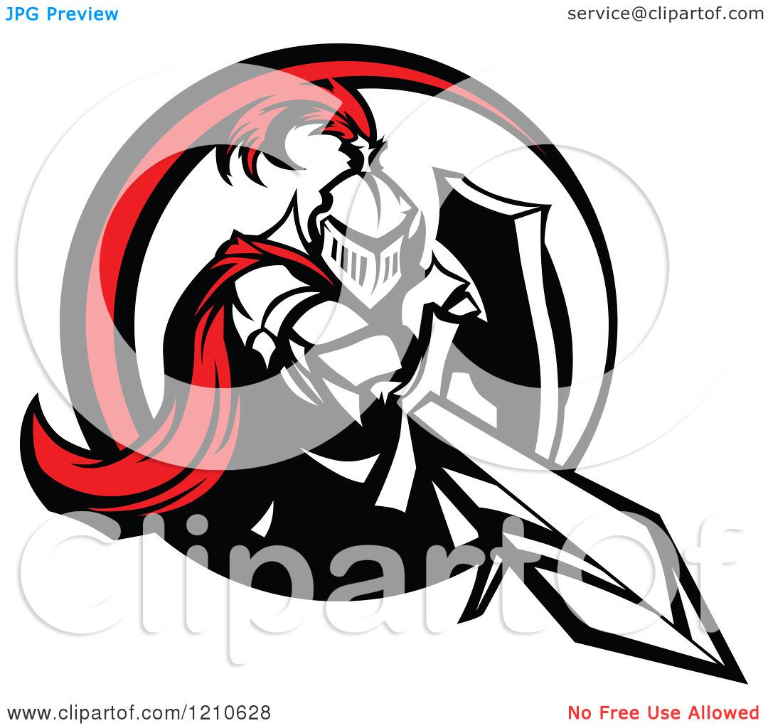 Clipart-Of-A-Red-And-Black-And-White-Knight-Stabbing-With-A-Sword ...