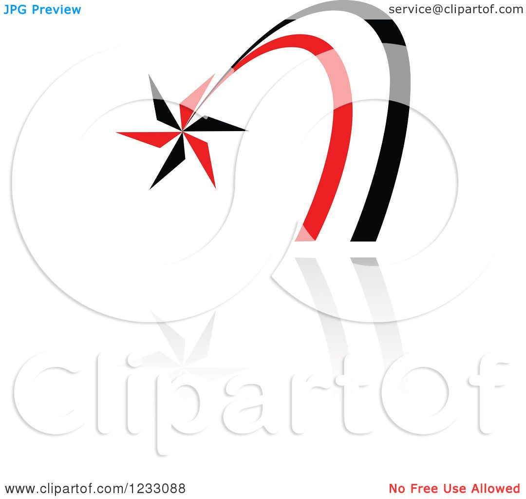 clipart of a red and black shooting star logo and reflection rh clipartof com shooting star logo with e attached to star shooting star logo images
