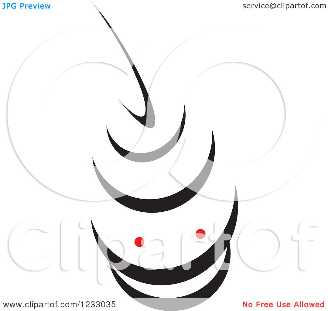 Clipart Of A Red And Black Stingray Logo Royalty Free Vector
