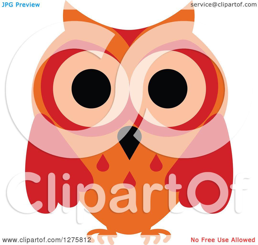 Clipart of a Red and Orange Owl - Royalty Free Vector ...