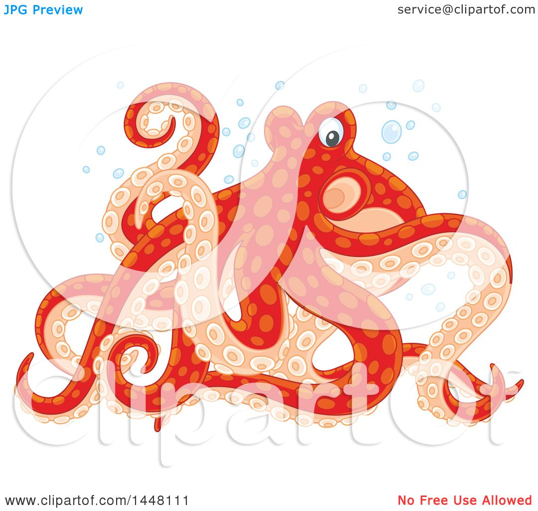 Clipart of a Red and Pastel Orange Octopus Walking on Its Tentacles ...