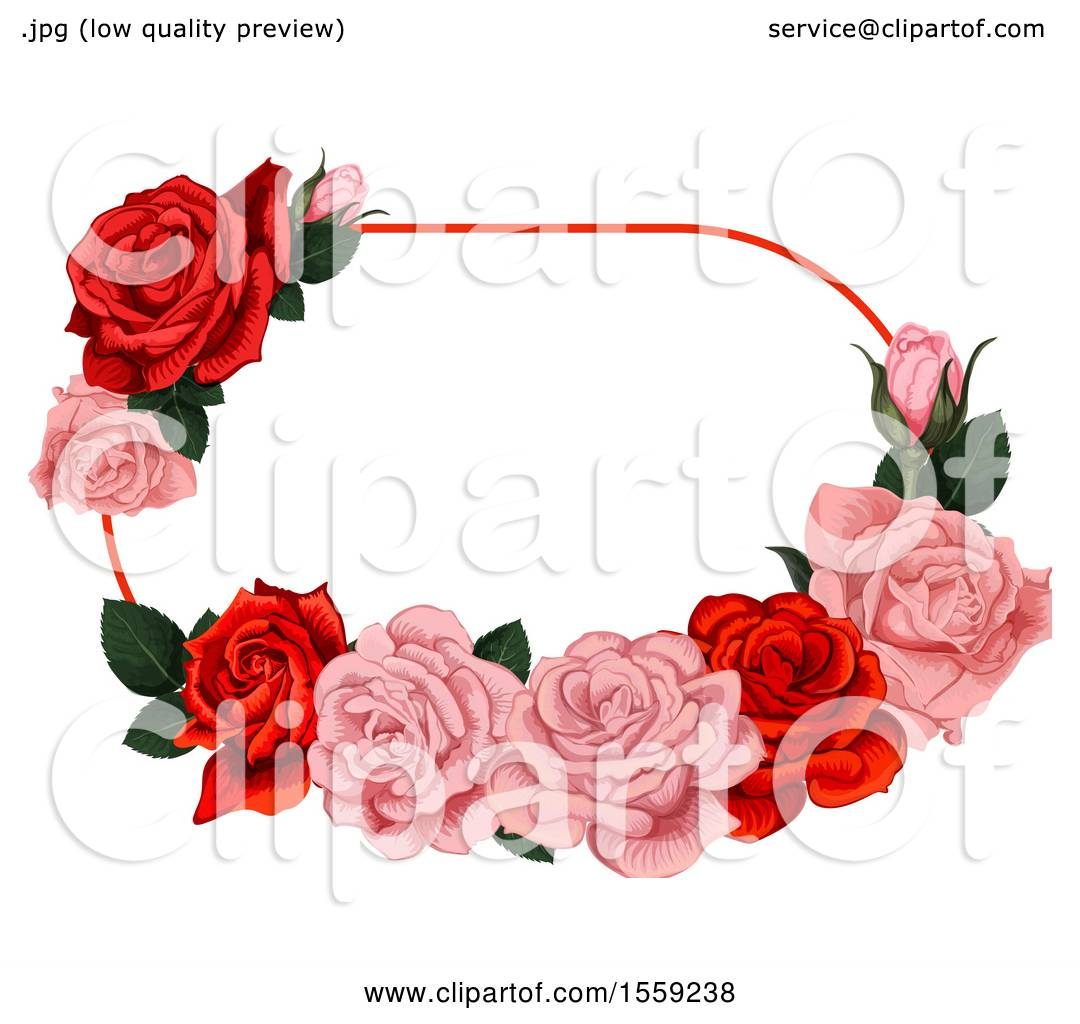 Clipart of a Red and Pink Rose Frame Design - Royalty Free Vector ...