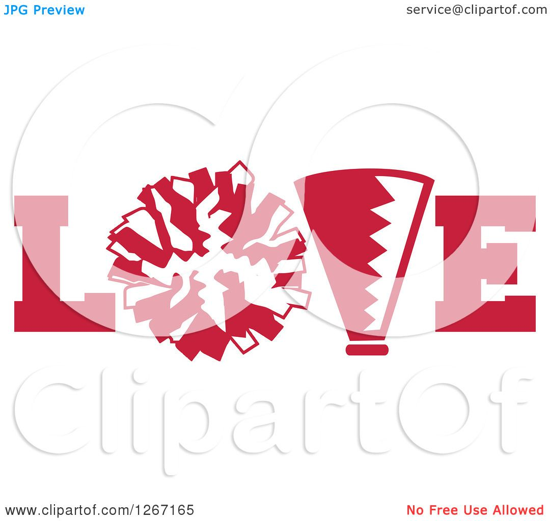 clipart of a red and white megaphone and cheerleading pom pom in