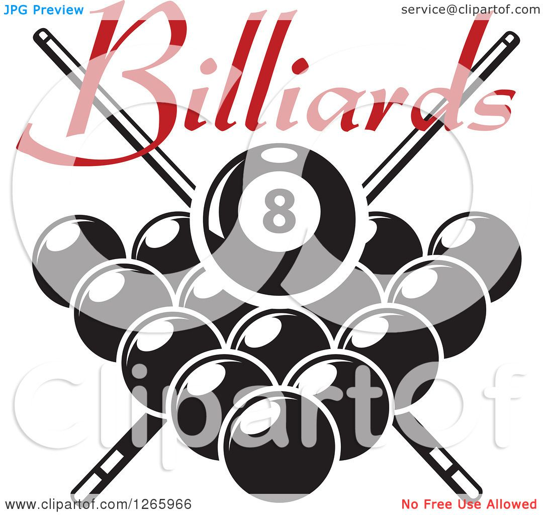 billiards black and white. Clipart Of A Red Billiards Text Over Black And White Pool Eight Ball Crossed Cue Sticks Other Balls - Royalty Free Vector Illustration By