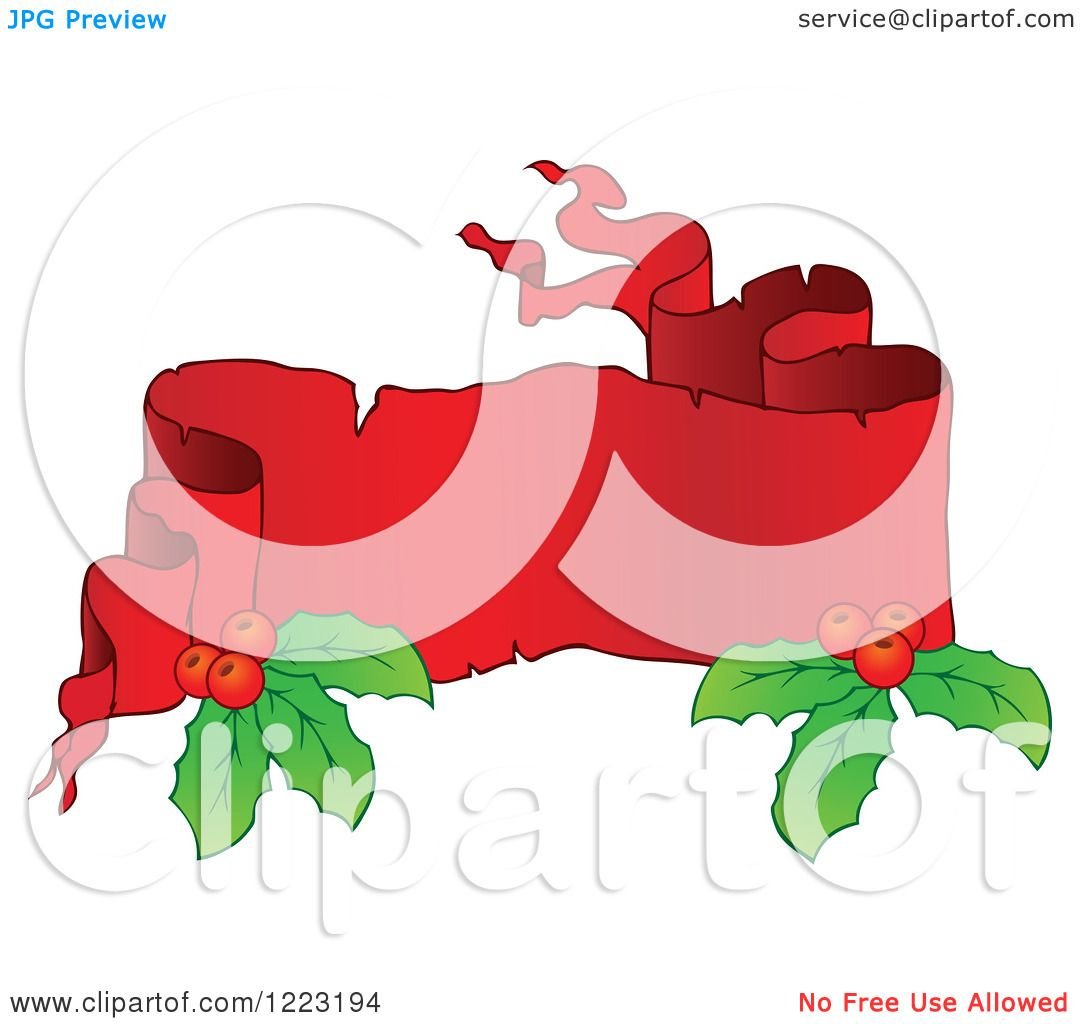 Clipart of a Red Christmas Parchment Banner with Holly 2 ...