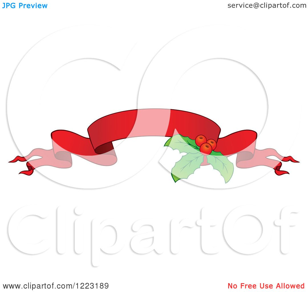 Clipart of a Red Christmas Ribbon Banner with Holly 3 ...