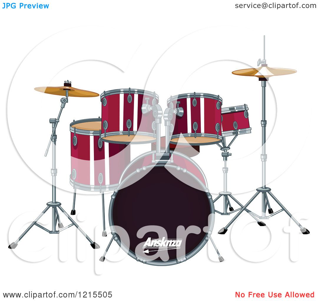 Drum Set Clipart Clipart of a Red Drum Set