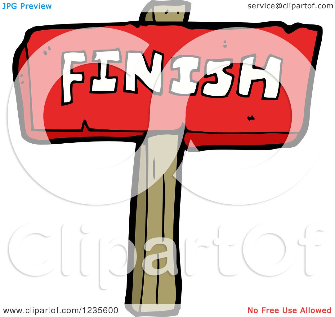 Clipart of a Red Finish Sign - Royalty Free Vector Illustration by ...