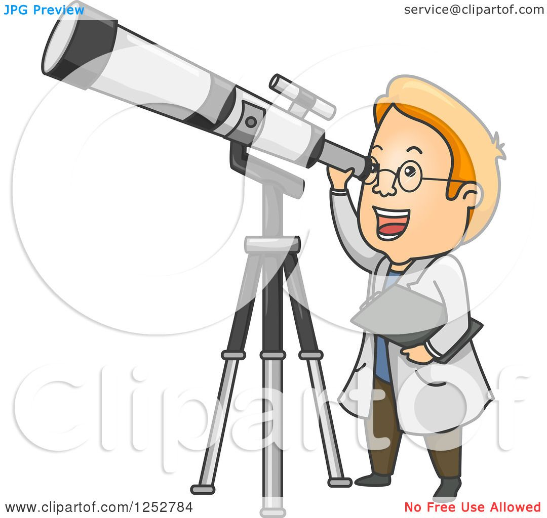 Clipart Of A Red Haired White Male Astronomer Looking Through A Telescope Royalty Free Vector Illustration 10241252784