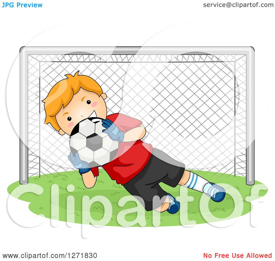 Clipart of a Red Haired White Soccer Player Goalie Blocking a Ball - Royalty Free ...