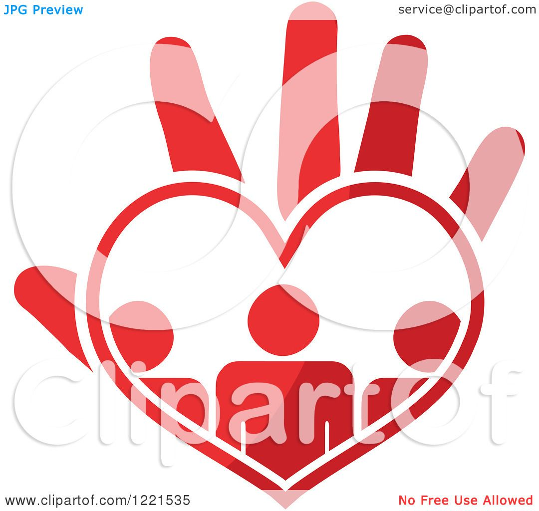 Clipart of a Red Hand with People in a Heart Palm - Royalty Free ...