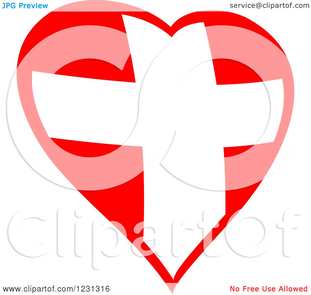 Clipart of a Red Heart and Medical Cross 2 - Royalty Free Vector ...