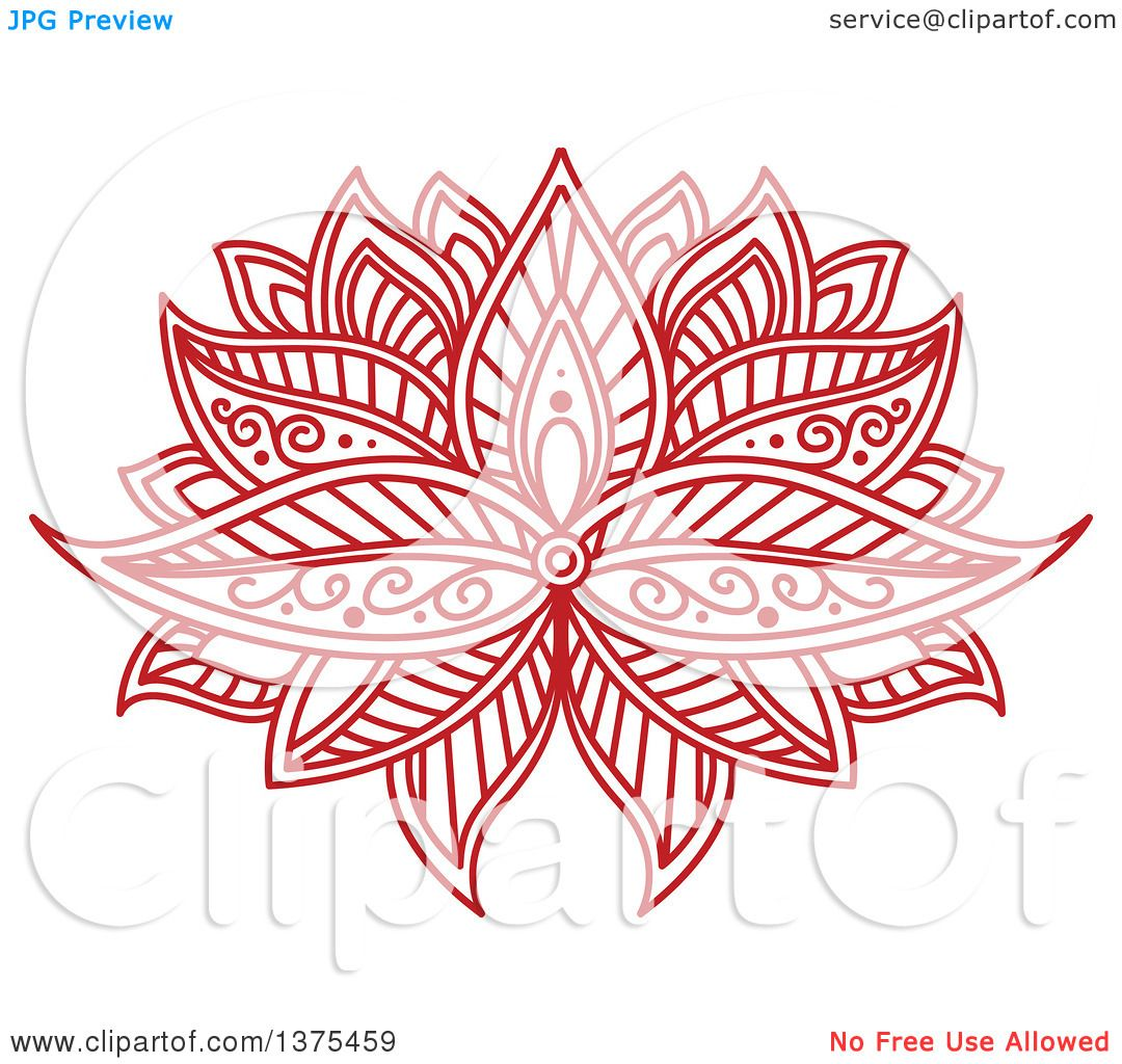Clipart Of A Red Henna Lotus Flower Royalty Free Vector