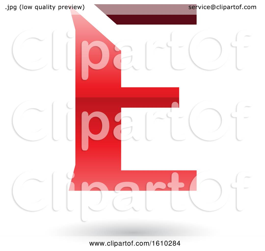 Clipart Of A Red Letter E Royalty Free Vector Illustration By