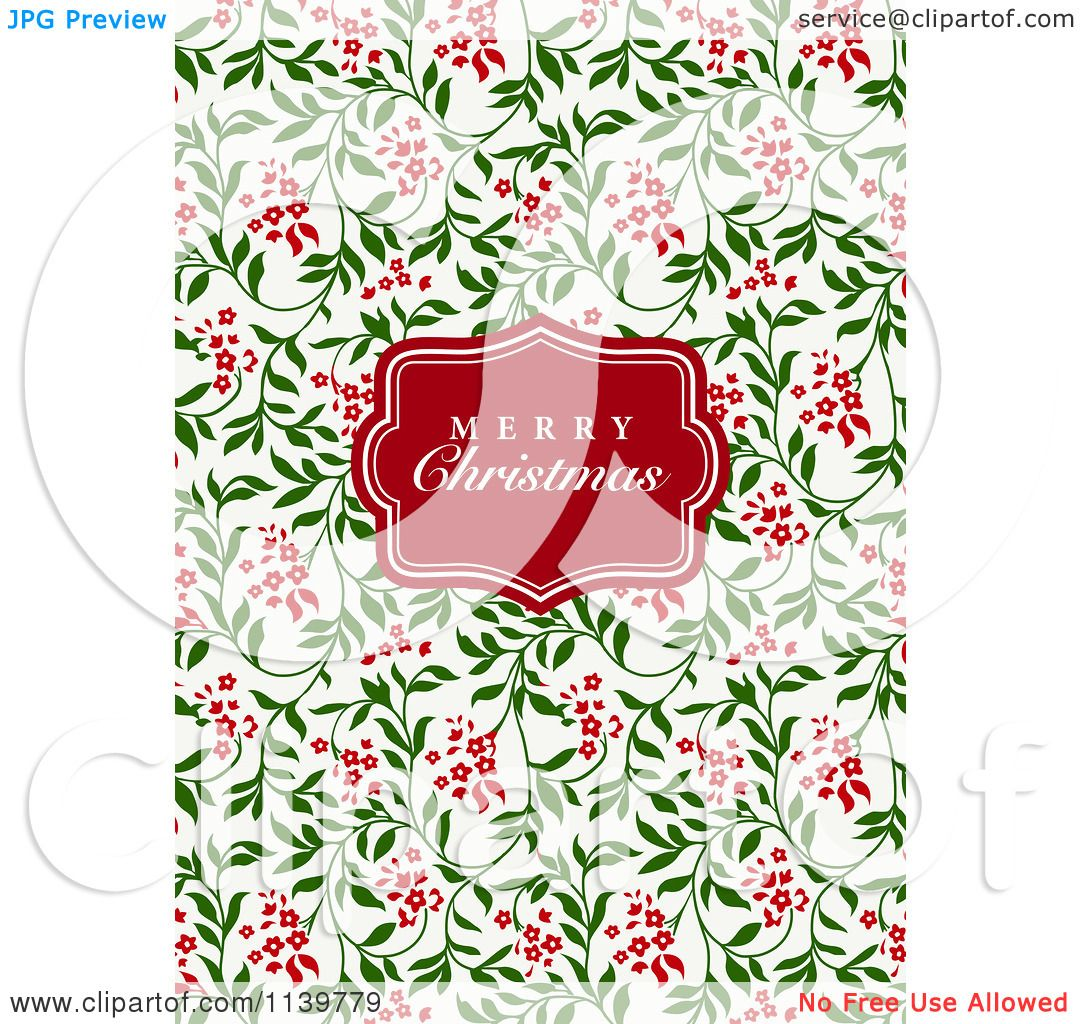 Clipart Of A Red Merry Christmas Greeting Frame Over Red ...