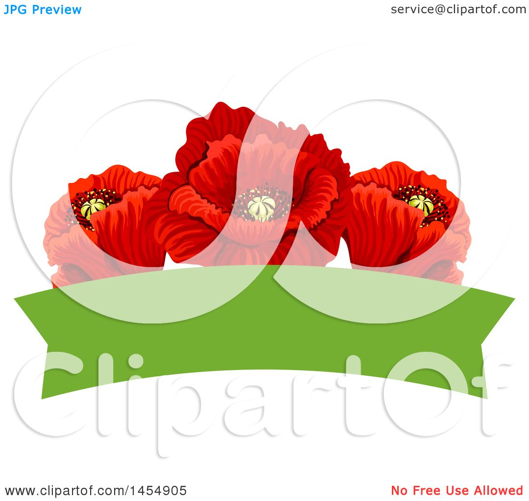 Clipart Of A Red Poppy Flower Design Element Royalty Free Vector