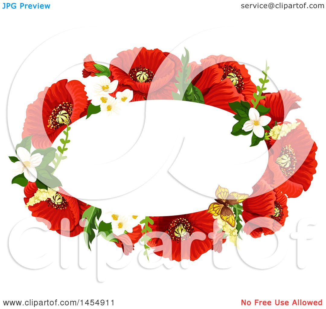 Clipart of a Red Poppy Flower Design Element - Royalty Free Vector ...