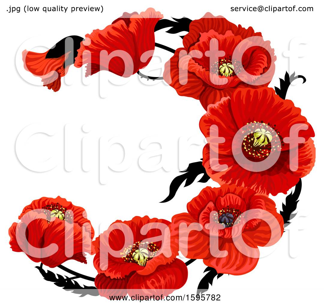 Clipart Of A Red Poppy Flower Design Royalty Free Vector