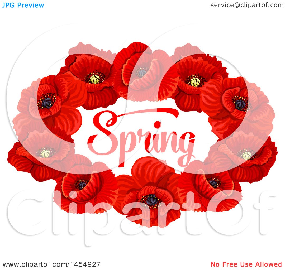 Clipart of a Red Poppy Flower Spring Time Season Design Element ...