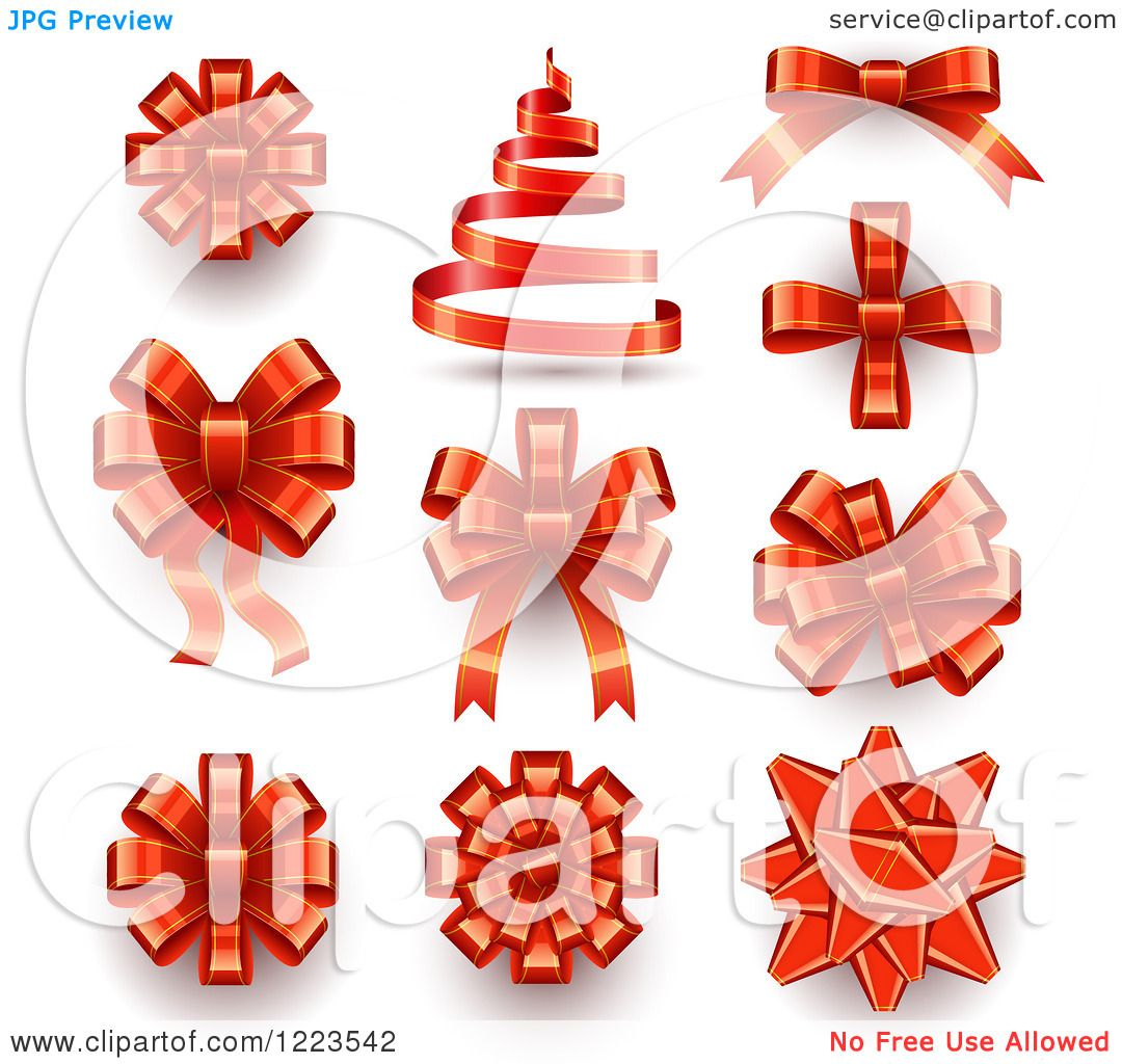 clipart of a red ribbons bows and a christmas tree royalty free