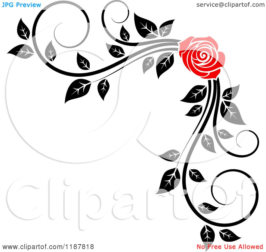 Clipart Of A Red Rose And Black White Foliage Corner Border 2