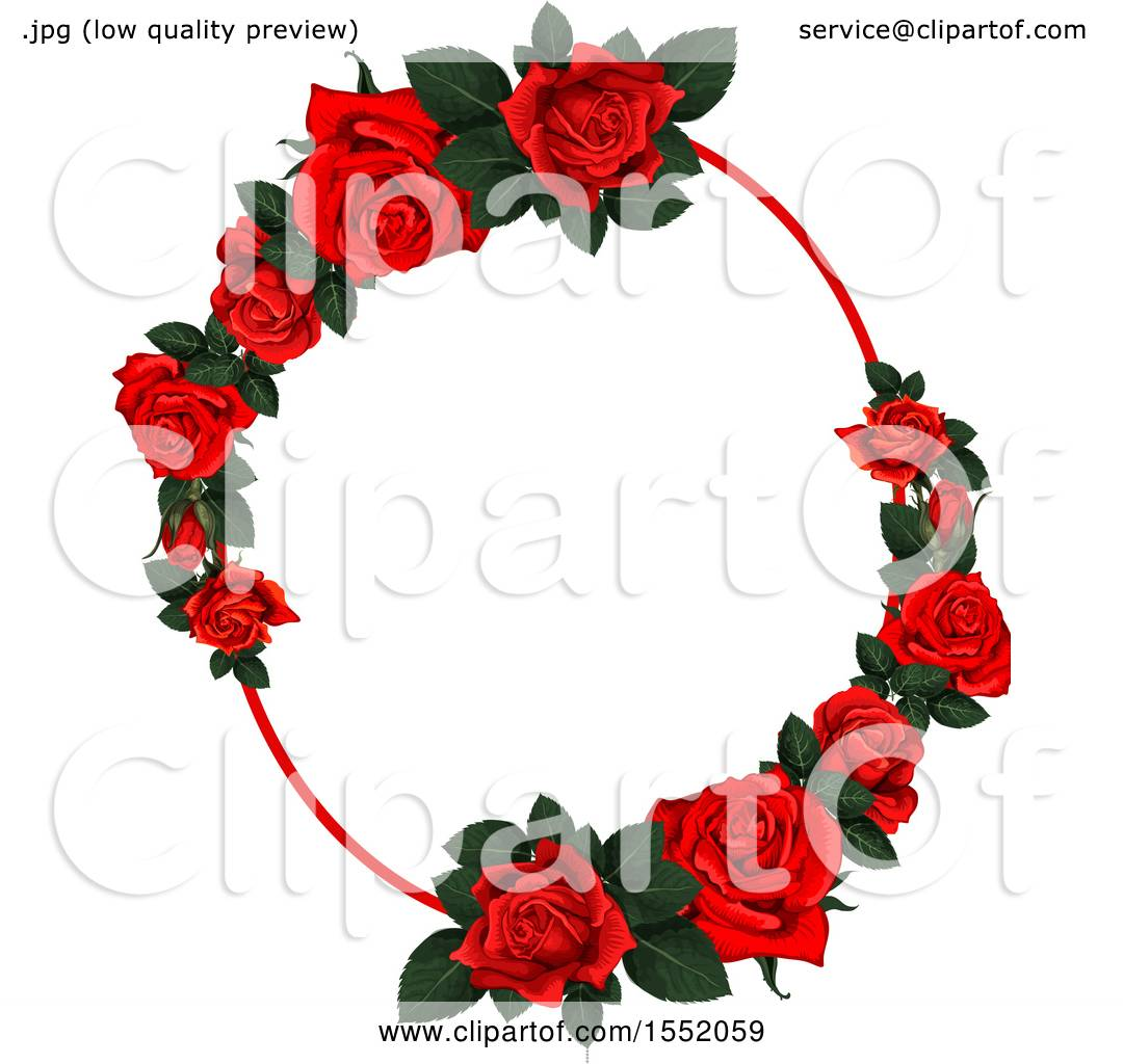 Clipart Of A Red Rose Frame Design
