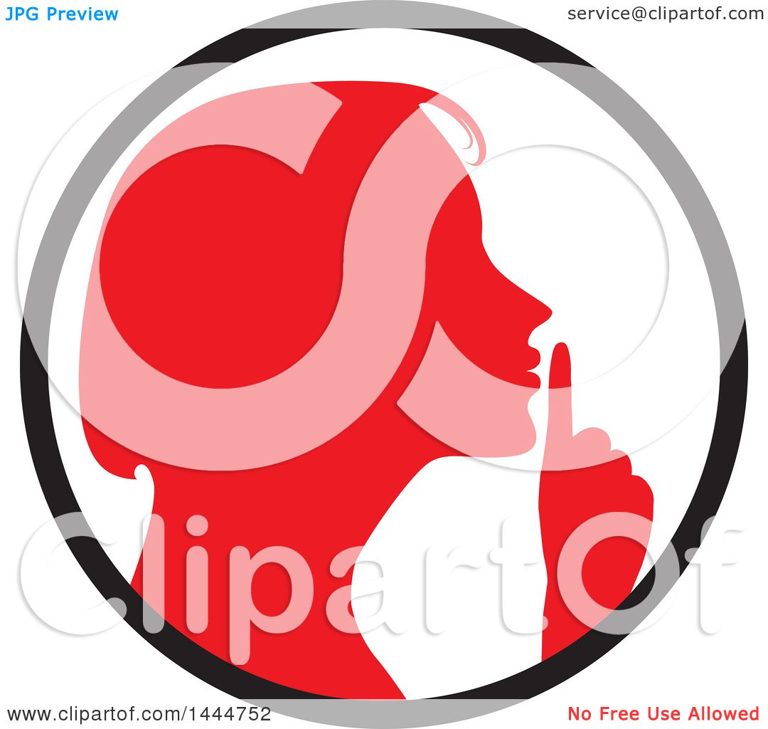 Clipart of a Red Silhouetted Woman Shushing Inside a ...