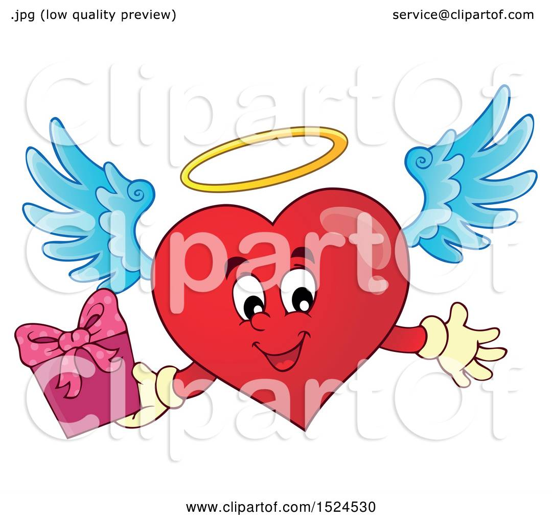 Clipart of a Red Valentines Day Love Heart Angel Character ...