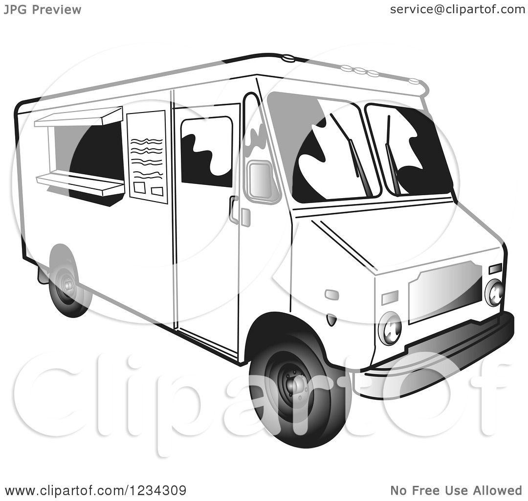 Clipart Of A Restaurant Catering Van Food Truck
