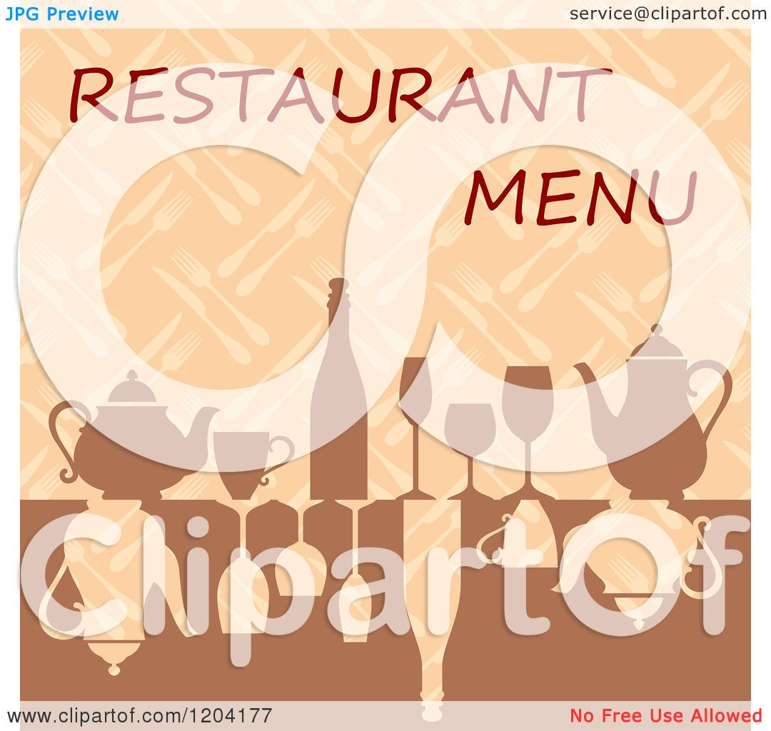 Clipart of a Restaurant Menu Cover Design with Glasses Wine and ...