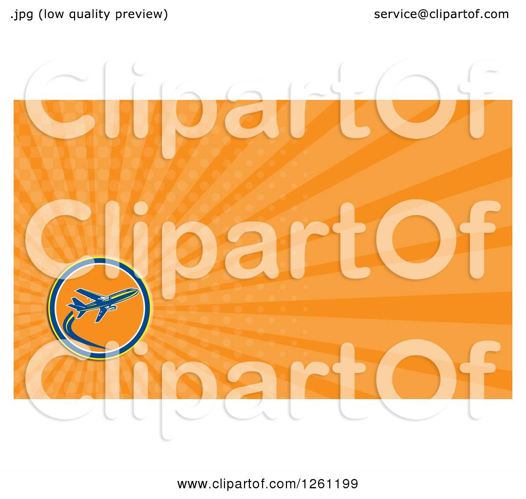 Clipart of a Retro Airplane Business Card Design - Royalty Free ...