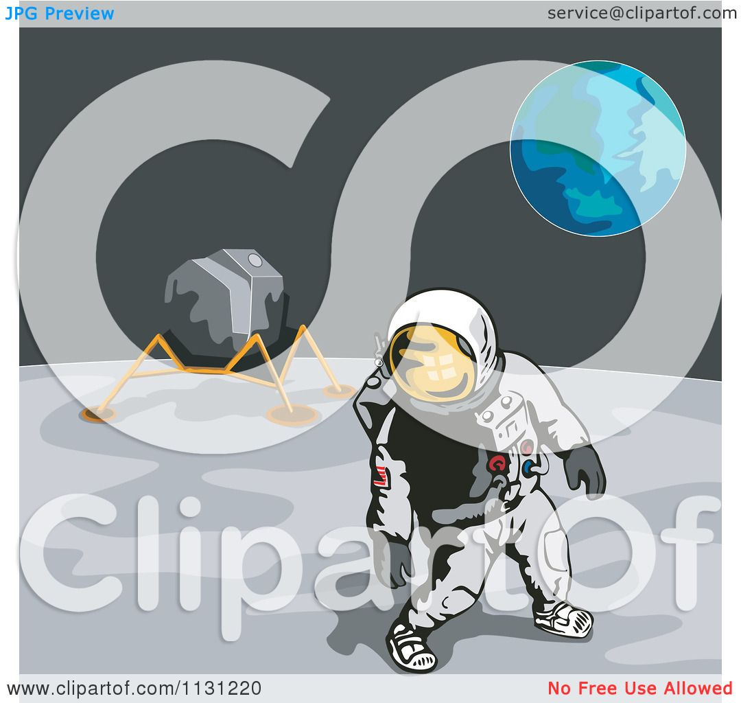 Clipart Of A Retro Astronaut And Lunar Module On The Moon