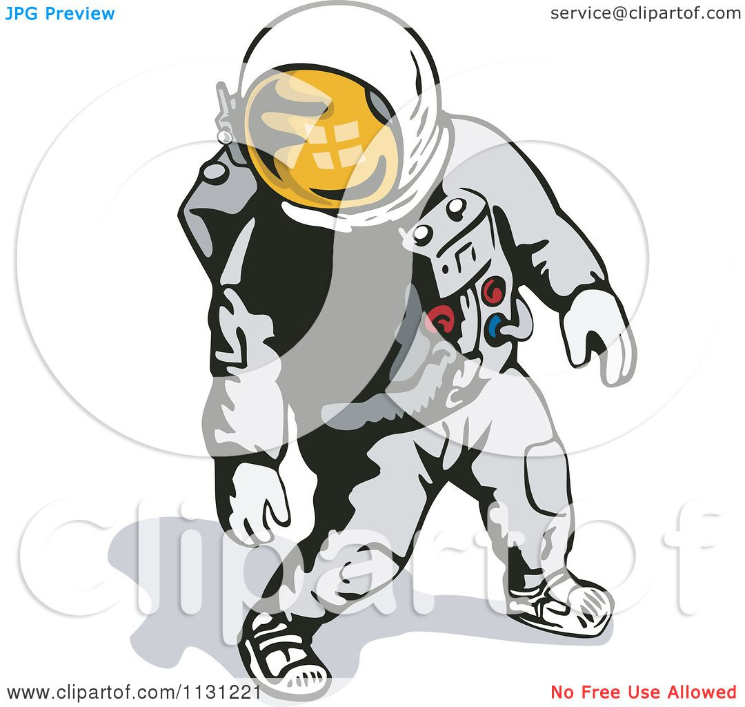 Clipart Of A Retro Astronaut Walking In A Space Suit ...