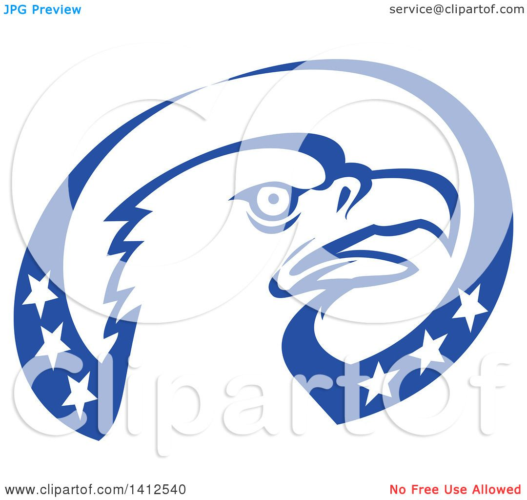 Clipart of a Retro Bald Eagle Head in a Blue and White