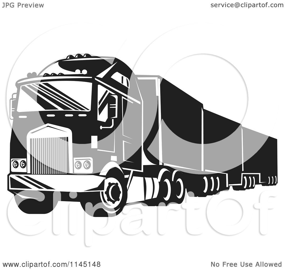 Clipart Of A Retro Black And White Big Rig Truck 1
