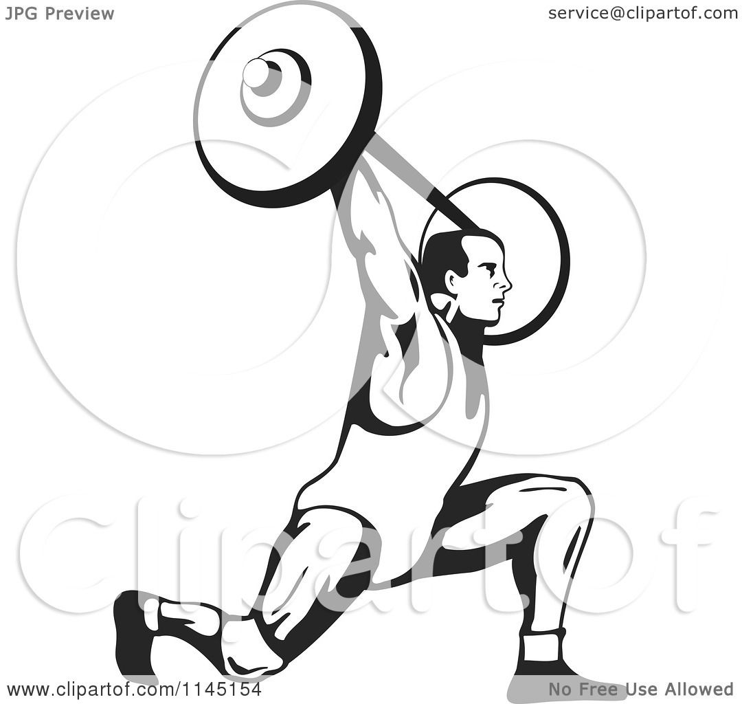 Clipart of a Retro Black and White Bodybuilder Doing Lunges with a ...