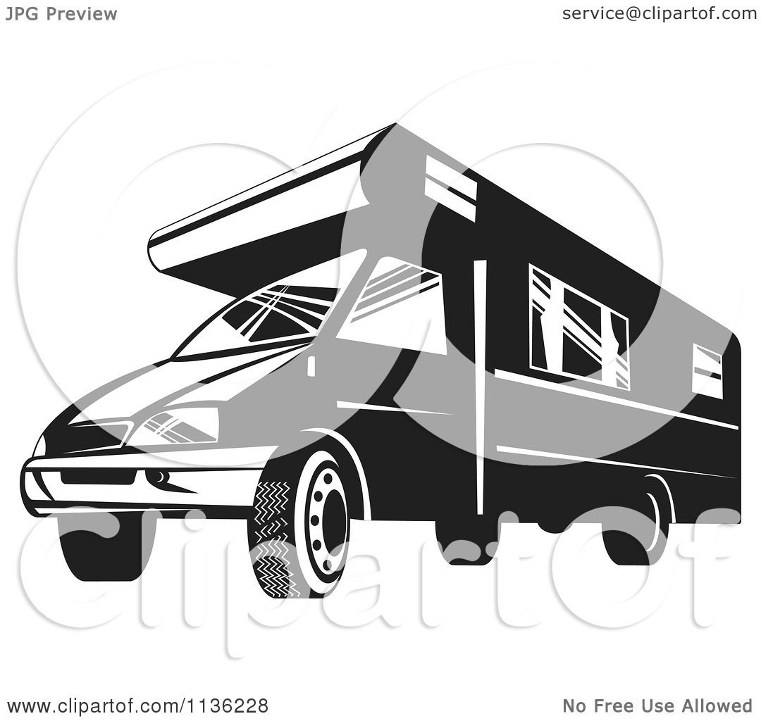 Clipart Of A Retro Black And White Camper Van