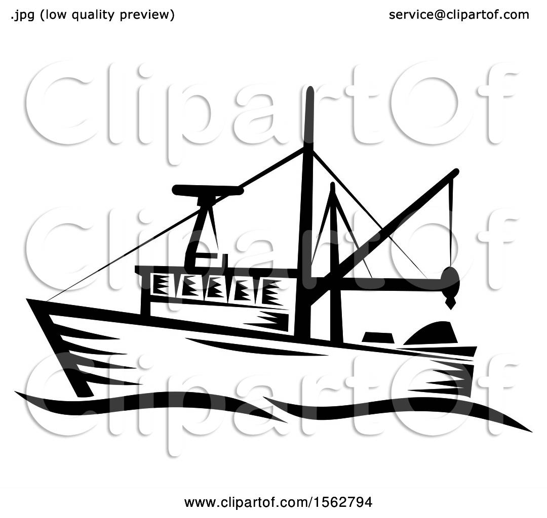 Clipart Of A Retro Black And White Fishing Boat With Waves Royalty Free Vector Illustration By Patrimonio 1562794