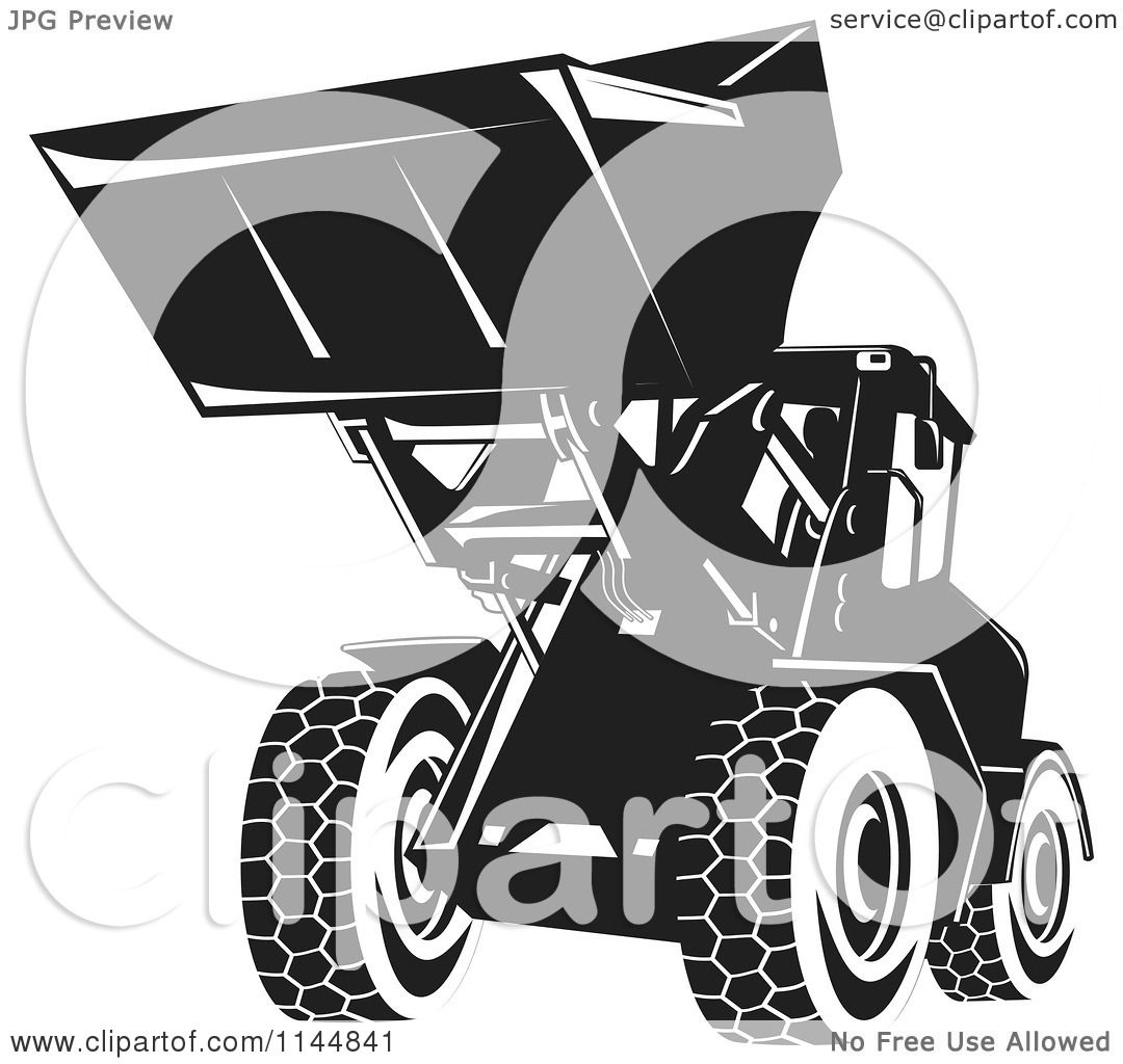 Clipart Of A Retro Black And White Front Loader Royalty