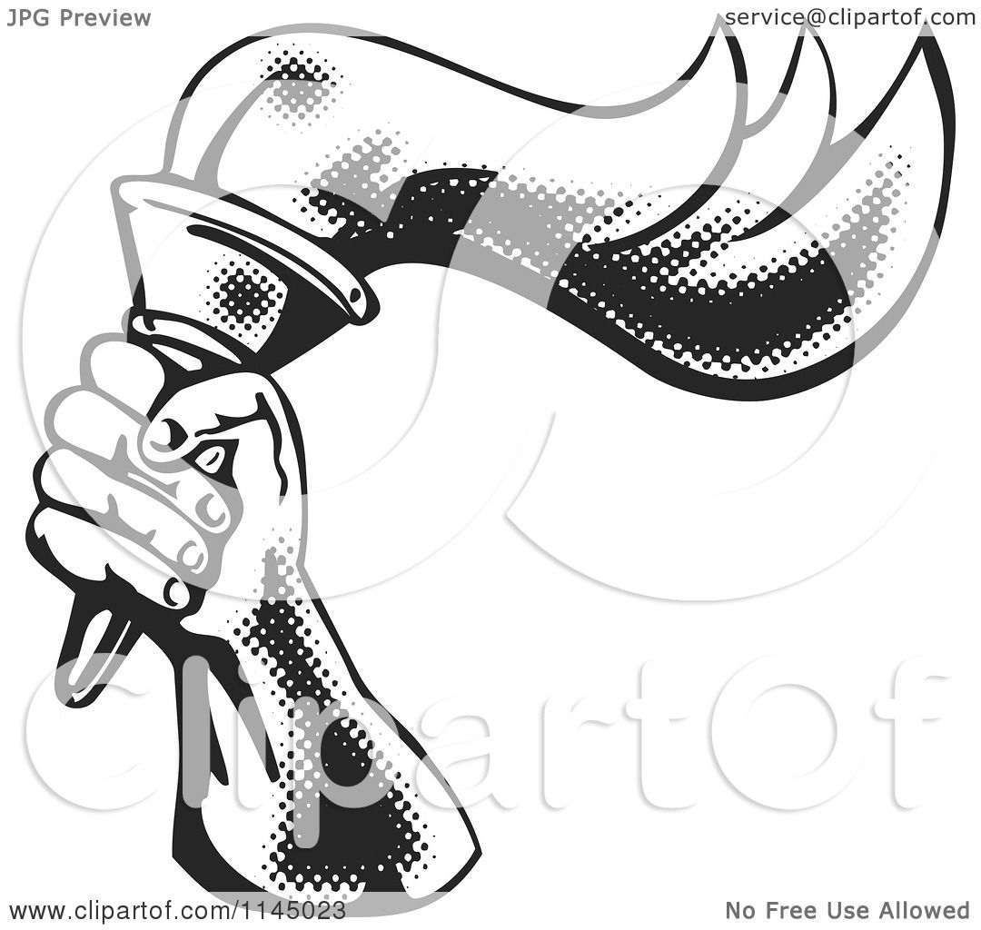 Clipart of a Retro Black and White Halftone Hand Holding a Flaming ... for Torch Clipart Black And White  1lp1fsj