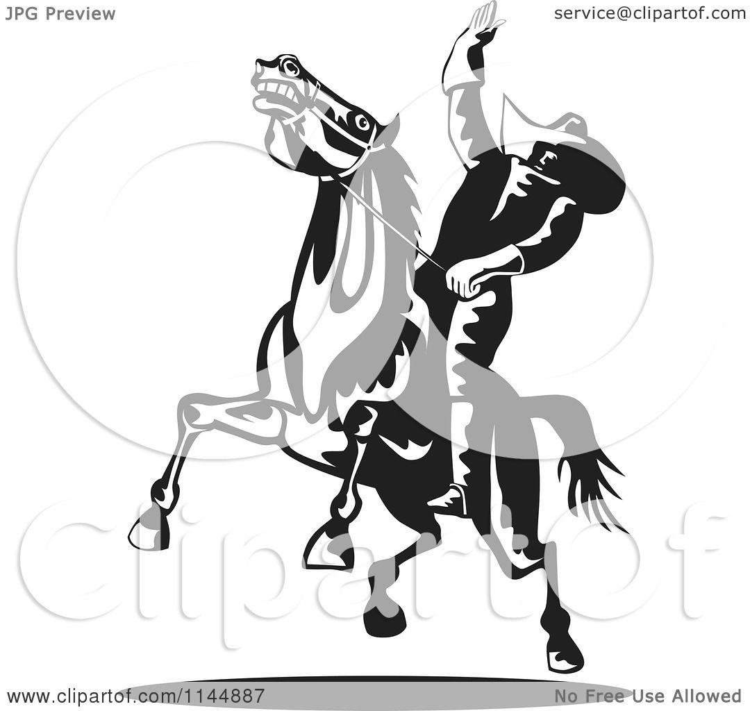 clipart of a retro black and white rodeo cowboy on a bucking horse 1 royalty free vector illustration by patrimonio
