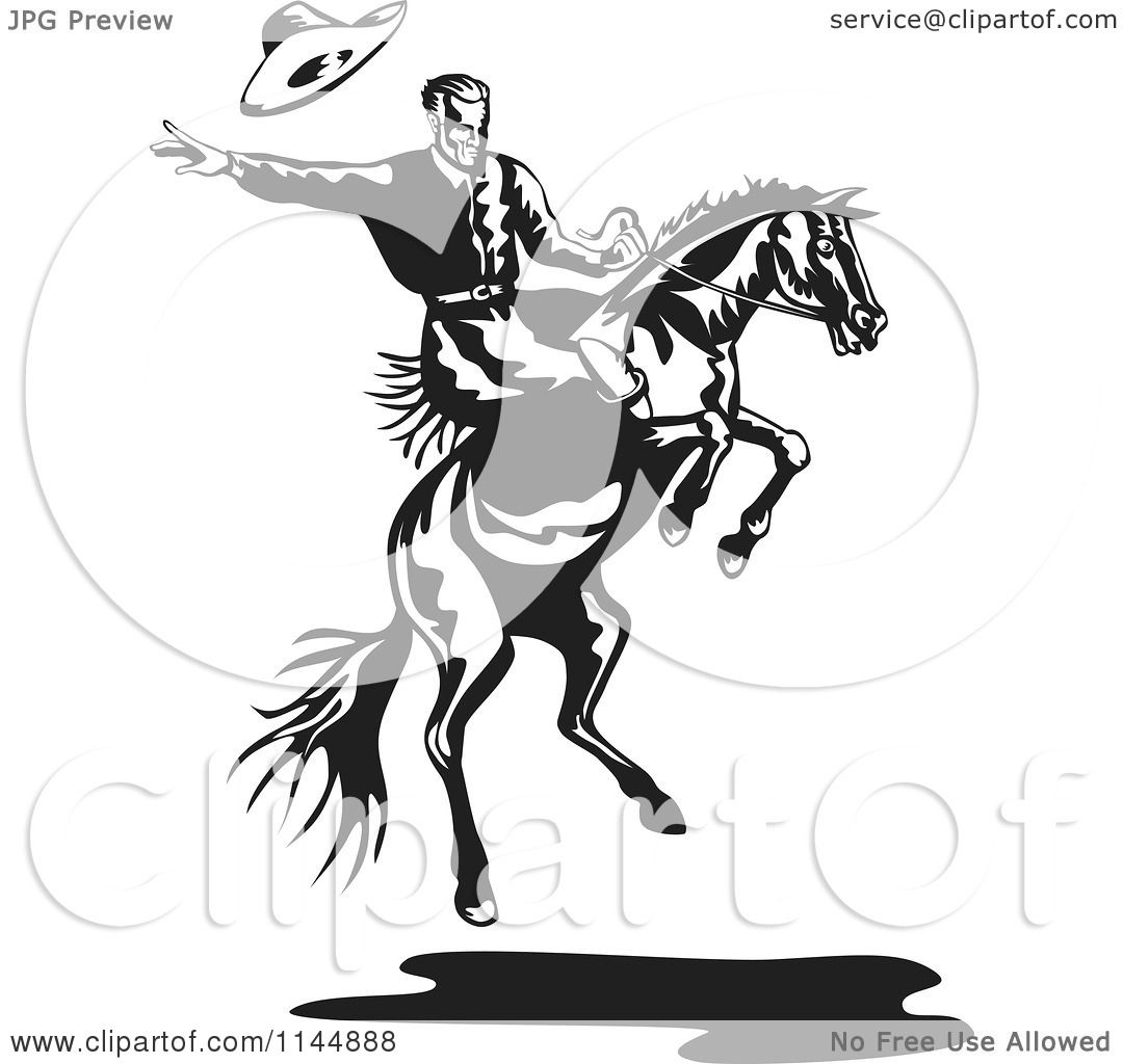 Clipart Of A Retro Black And White Rodeo Cowboy On A