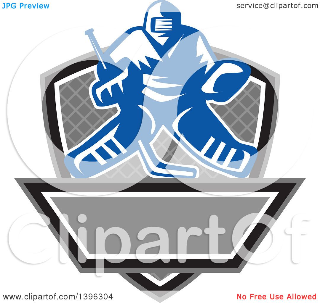 Clipart of a Retro Blue and White Ice Hockey Goalie over a Net ...