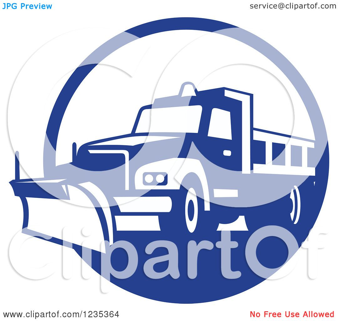 Clipart of a Retro Blue and White Snow Plow in a Circle - Royalty ...