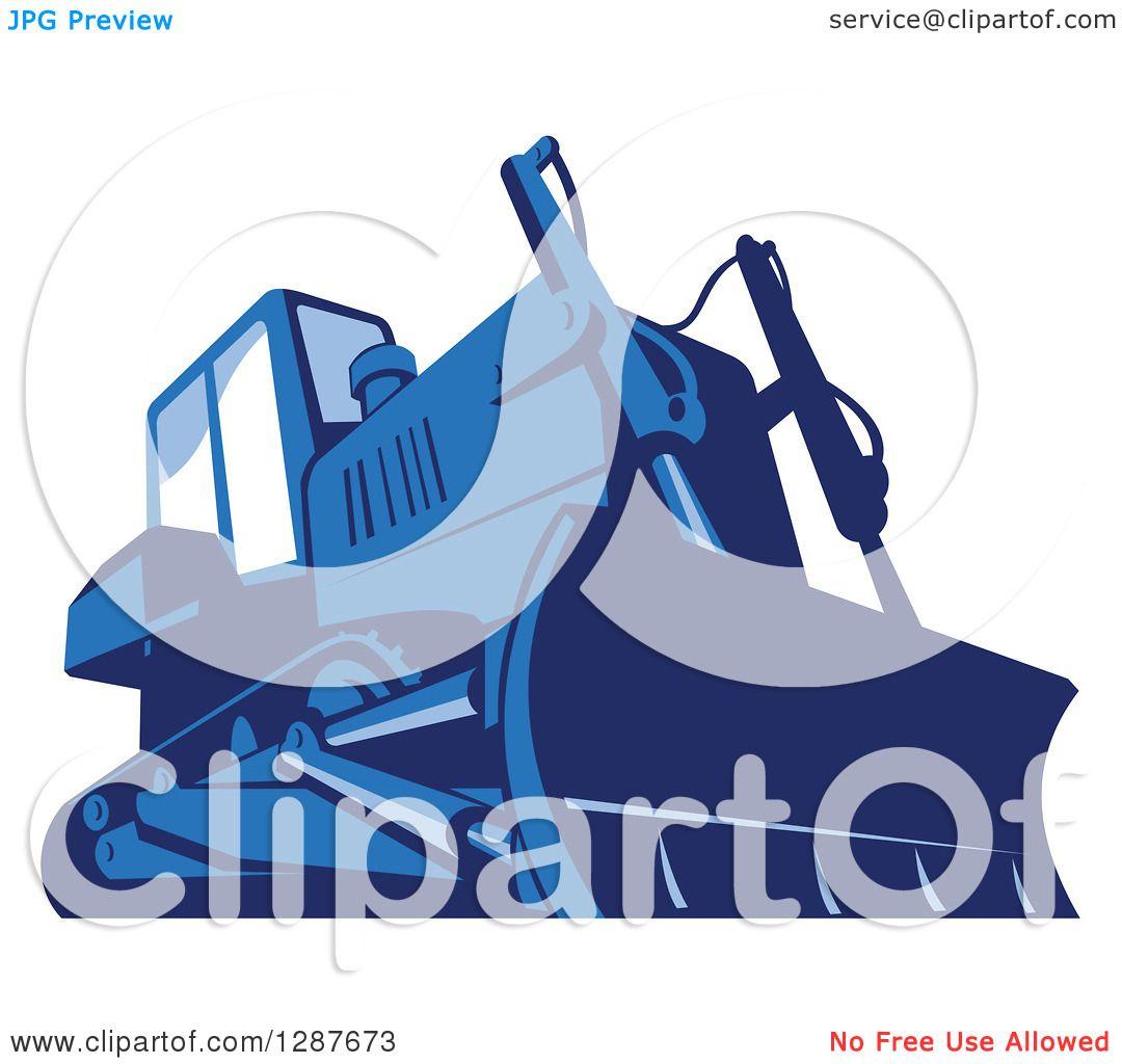 clipart of a retro blue bulldozer machine royalty free vector illustration by patrimonio 1287673. Black Bedroom Furniture Sets. Home Design Ideas