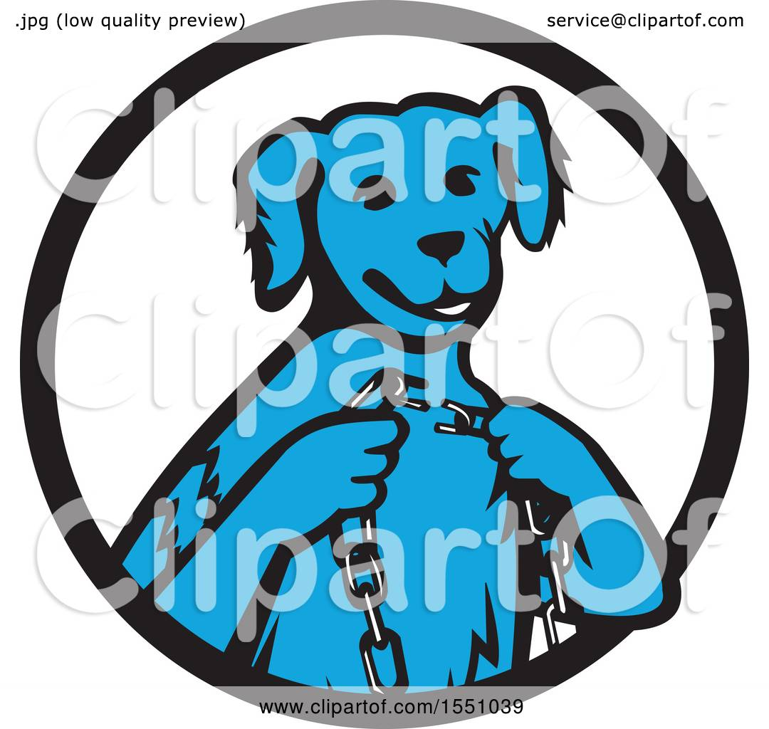 Clipart Of A Retro Blue Dog Sitting With Broken Chain In Hands Inside Black And White Circle