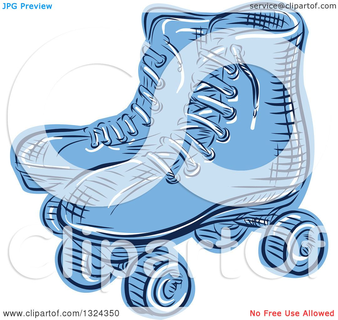 Roller skates for free - Clipart Of A Retro Blue Engraved Or Sketched Pair Of Roller Skates Royalty Free Vector Illustration By Patrimonio