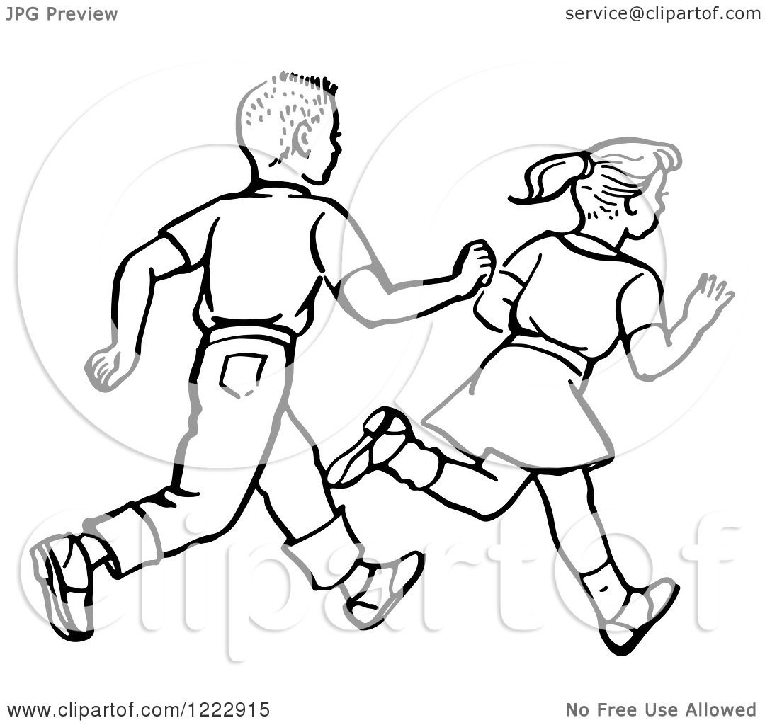 Clipart of a Retro Boy and Girl Running in Black and White ...