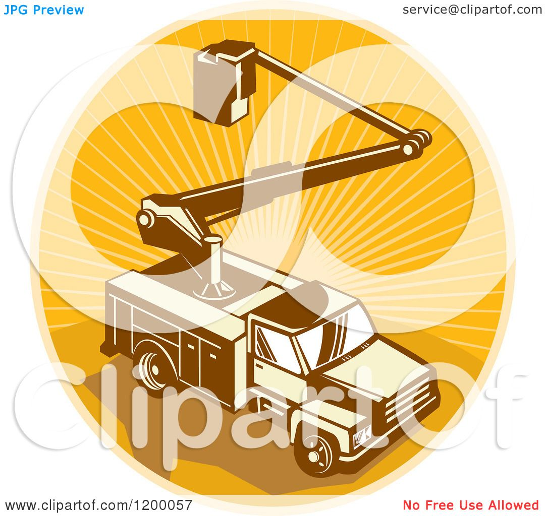 Green truck clipart royalty free rf pickup truck clipart - Clipart Of A Retro Bucket Truck Over An Oval Of Rays Royalty Free Vector Illustration