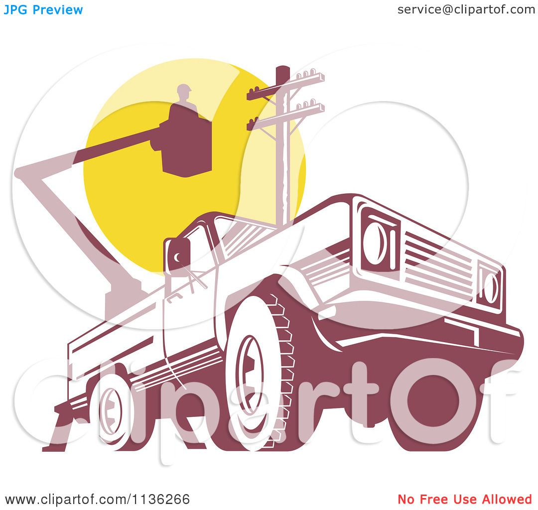 Clipart Of A Retro Bucket Truck With An Electrican And Pole